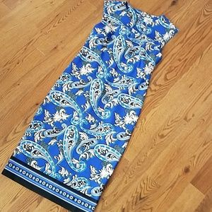 """Beige"" by eci Blue Paisley dress new condition!!!"